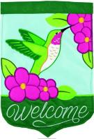 Hummingbird Welcome Double Applique Garden Flag