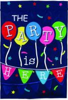 The Party Is Here Double Applique Garden Flag