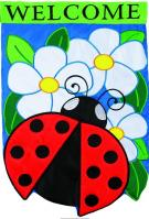 Ladybug Welcome Double Applique Garden Flag