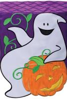 Happy Ghost Double Applique Garden Flag
