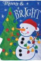 Snowman/Tree Double Applique Garden Flag