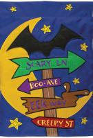 Halloween Sign Double Applique Garden Flag