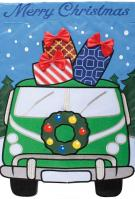 Christmas Van Applique Garden Flag