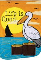 Life Is Good Pelican Double Applique Garden Flag