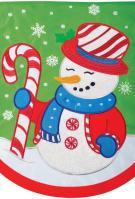 Peppermint Snowman Double Applique Garden Flag