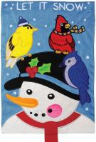 Snowman & Birds Double Applique House Flag