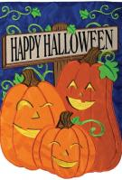 Happy Jack O\' Lanterns Double Applique Garden Flag