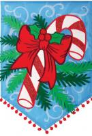 Candy Cane & Pine Double Applique Garden Flag