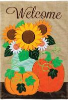Burlap Pumpkin Double Applique Garden Flag