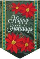 Holiday Poinsettia Double Applique Garden Flag
