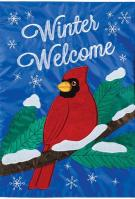 Snowy Cardinal Double Applique Garden Flag