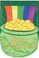 Pot Of Gold Double Applique House Flag
