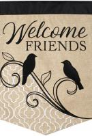 Songbird Welcome Double Applique House Flag