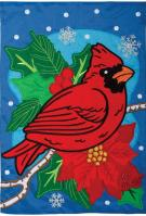 Cardinal Holly Berries Double Applique House Flag