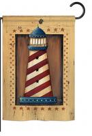 Patriotic Lighthouse Garden Flag
