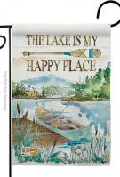 Lake Is Happy Place Garden Flag