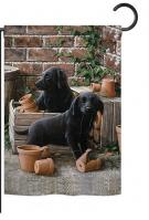 Black Lab Pups Garden Flag