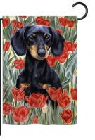 Dachsund In Tulips Garden Flag