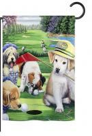 Golfing Puppies Garden Flag