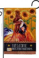 Country Rooster Decorative Garden Flag