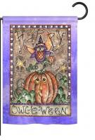 Happy Owl Lo Ween Garden Flag