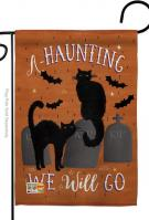 Haunting We Go Garden Flag