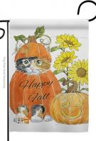 Happy Pumpkin Kitty Garden Flag