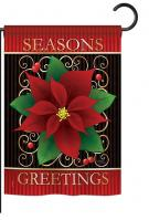 Seasons Greetings Poinsettia Garden Flag