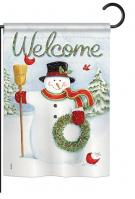 Snowman Wreath Garden Flag