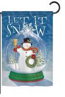 Snow Globe Snowman Garden Flag