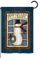 Happy Holidays Snowman Garden Flag