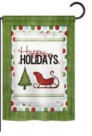 Classic Happy Holidays Garden Flag
