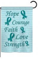 Hope, Faith, Courage (Teal) Garden Flag