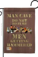 Man Cave Men Getting Hammered Garden Flag