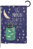 Moon Stars Fireflies Jars Garden Flag
