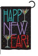 New Year Martini Garden Flag