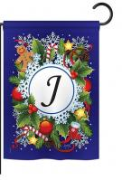 Winter J Monogram Garden Flag