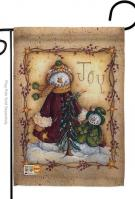 Christmas Joy Snowman Decorative Garden Flag