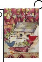Friends Gather Here Decorative Garden Flag
