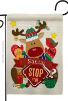 Santa Stop Here Decorative Garden Flag