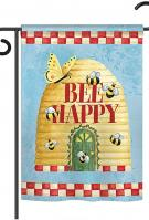 Bee Happy Hive Garden Flag