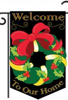 Christmas wreath Applique Garden Flag