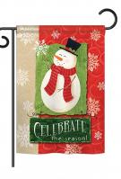 Celebrate The Season Snowman Garden Flag