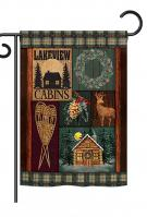 Winter Lakeview Cabins Garden Flag