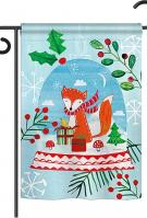 Snow Globe Fox Garden Flag