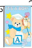 It\'s a Boy Applique Garden Flag