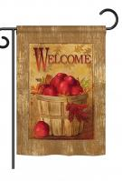 Welcome Apple Basket Garden Flag