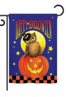 Owl Sitting On Jack-O-Lantern Garden Flag