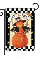 Jack-O-Lantern Witch Garden Flag
