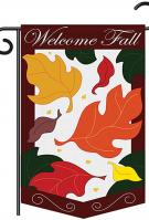Welcome Fall Leaves Applique Garden Flag